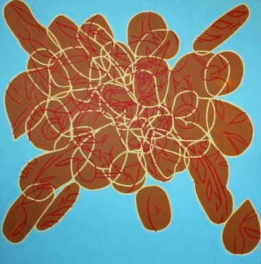 Bread explosion, 90cm x 90cm, acrylic on canvas